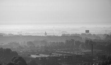 Schwarz-Weiß-Foto von Utrecht Süd von Bart van Lier