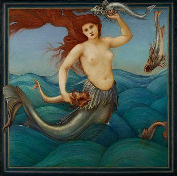 Meerjungfrau, die nackt über die Wellen geht, 1881 von Atelier Liesjes