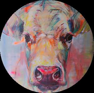 Schilderij portret van een koe  'sweet lady Jane' van Liesbeth Serlie
