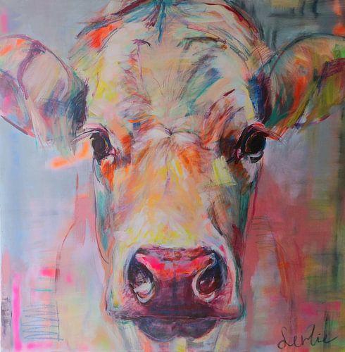 Schilderij portret van een koe  'sweet lady Jane'