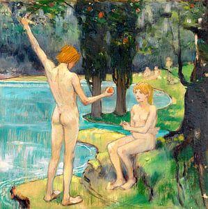Adam und Eva (Paradies), LUDWIG VON HOFMANN, Um 1895-1900