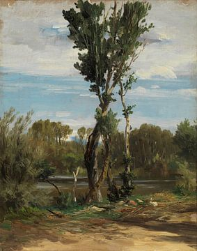 Carlos de Haes - eine Pappel am Fluss, eine alte Landschaft.