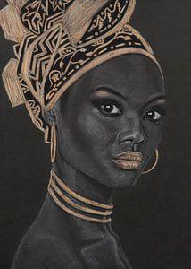 Afrikanische Frau, schöne Pastellzeichnung in Schwarz, Weiß und Gold von Bianca ter Riet
