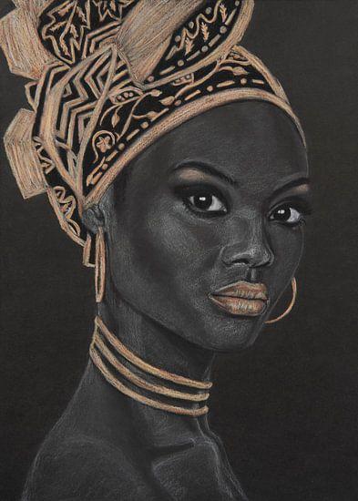 Afrikanische Frau, schöne Pastellzeichnung in Schwarz, Weiß und Gold
