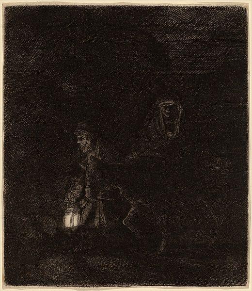 De vlucht naar Egypte van Rembrandt van Rijn