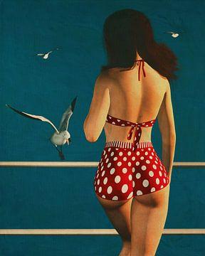 Peinture de style rétro d'une fille portant un bikini sur Jan Keteleer