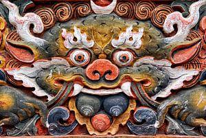 Relief van een demon in Bhutan