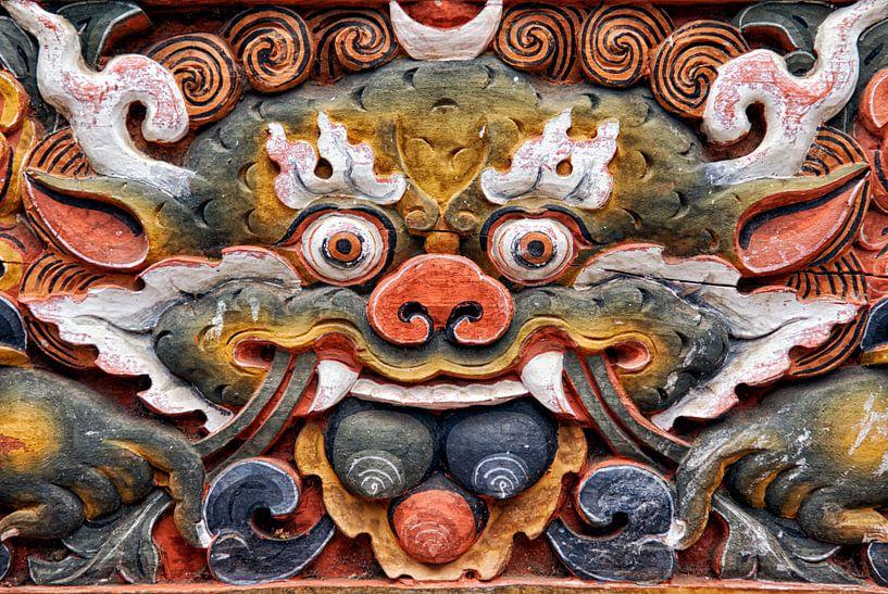 Relief van een demon in Bhutan van Theo Molenaar