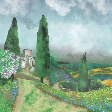 Landschap - De velden van Toscane van Patricia Piotrak