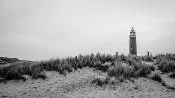 Zwart wit vuurtoren Texel van Arjen Schippers