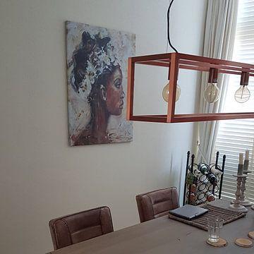Kundenfoto: Abstraktes Gemälde einer afrikanischen Frau von Mieke Daenen