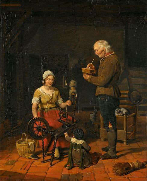 Bauernfamilie in ihrer Hütte, Cornelis Kruseman von Meesterlijcke Meesters