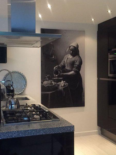 Klantfoto: Het Melkmeisje - Vermeer Schilderij (HQ), op canvas