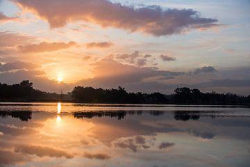 Sonnenaufgang Landscotch Heide von Ron Hermans