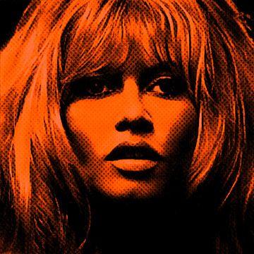Motiv Brigitte Portrait Bardot - Orange Gold Vintage van Felix von Altersheim