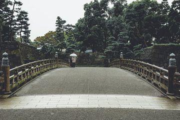 Wandelaar met paraplu tijdens een bui in Tokyo van Mickéle Godderis
