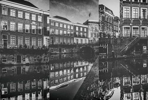 Drieluik van de Oudegracht en Stadhuisbrug in Utrecht