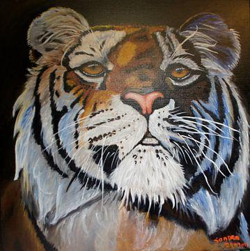 Tijger, tiger,  tiger, tigre, schilderij, van sandra de jong
