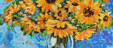 Sonnenblumen in einer Vase von Vrolijk Schilderij