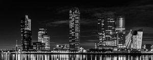 Kop van Zuid bij nacht panorama zwart wit