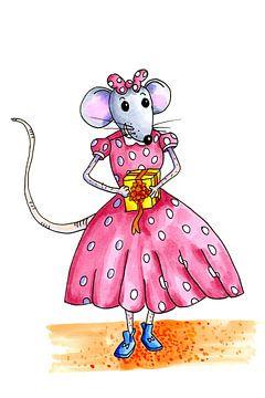 Junge Maus bereit für die große Party von Ivonne Wierink