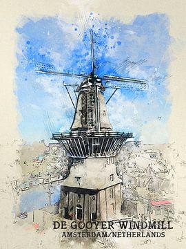 Molen De Gooyer van Printed Artings