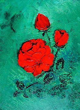 Rote Rose in Öl auf Leinwand gespachtelt van Babetts Bildergalerie