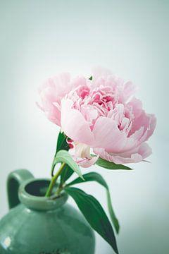 Stilleven roze pioenroos vintage look van Natascha Teubl