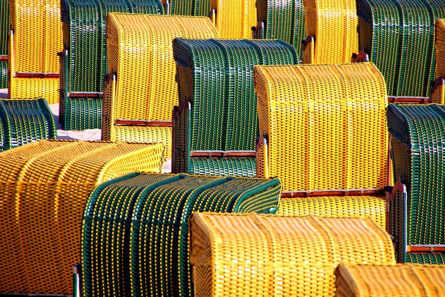 Strandkörbe grün und gelb