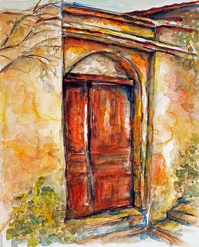 Oude houten  deur . van Ineke de Rijk