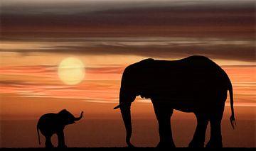 Bébé et mère éléphant en silhouette sur Marcel van Balken