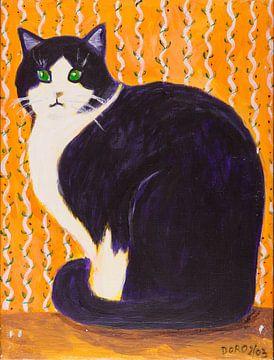 schwarz-weiße Katze mit Namen Minka van Dorothea Linke