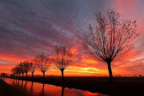 Spectaculaire zonsondergang in de Alblasserwaard van