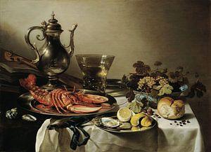 Pieter Claesz - Stilleven met zilverwerk en kreeft 1641
