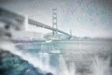 GOLDEN GATE BRIDGE  Journée de pluie | bleu de rêve sur Melanie Viola