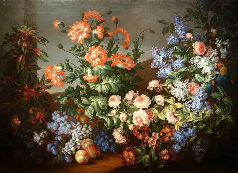 Still Life with Flowers, Fruits, a Parrot, and a Monkey, by Jean-Baptiste Monnoyer and Antoine Monno von Meesterlijcke Meesters