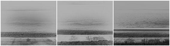 Drieluik panorama van land pad en zee
