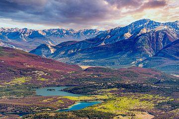 Jasper Nationaal Park vanaf grote hoogte, Canada van Rietje Bulthuis