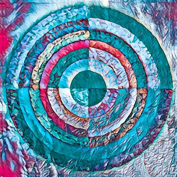 Gelaagde cirkel in turquoise en roze van Rietje Bulthuis