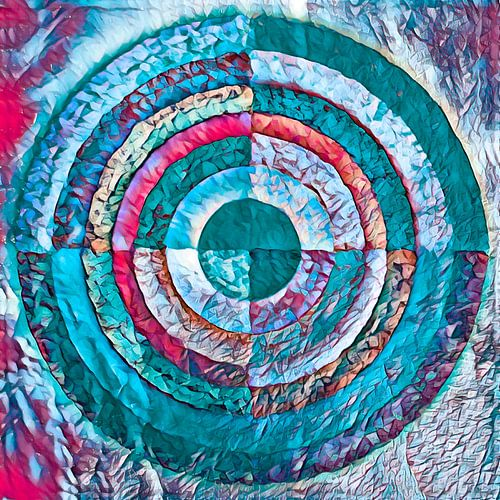 Gelaagde cirkel in turquoise en roze