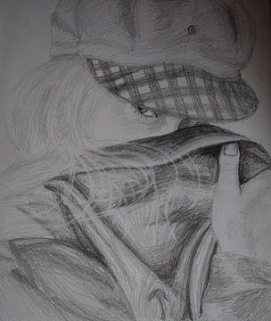 Tekening in potlood van een mysterieuze blonde jonge vrouw van Breezy Photography and Design