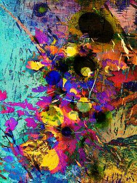 Modern, Abstract kunstwerk - Beneath The Burning Man (Links) van Art By Dominic