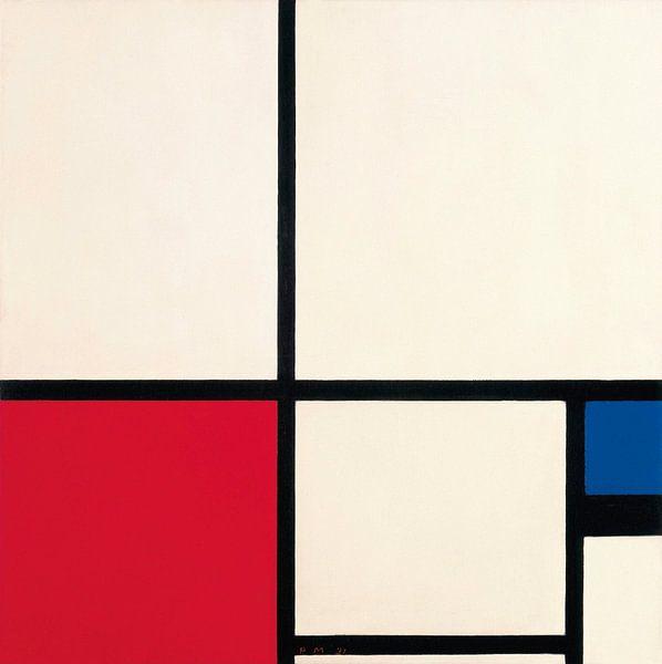 Komposition in Farben / Komposition Nr. I mit Rot und Blau, Piet Mondriaan von Meesterlijcke Meesters