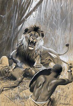 Jacht op de leeuw, WILHELM KUHNERT, 1894-1895