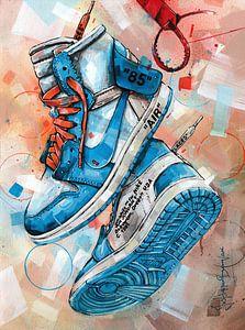 Nike air Jordan 1 Chicago Off White schilderij (blauw) van Jos Hoppenbrouwers