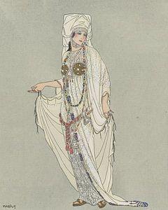 Historische verkleedpartij | Vintage Art Deco Mode prent |  De Antieke wereld