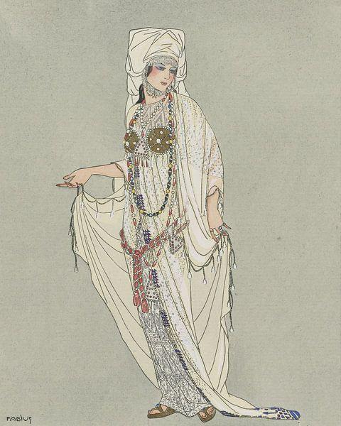 Historische verkleedpartij | Vintage Art Deco Mode prent |  De Antieke wereld van NOONY
