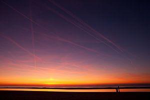 Zonsondergang op de Noordzee van