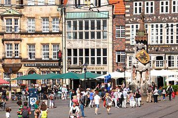 Bremen Roland op de marktplaats in de historische oude binnenstad van Bremen, Roland standbeeld, UNE van Torsten Krüger