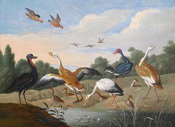 Reigers en eenden op een rivierbedding, Jan van Kessel